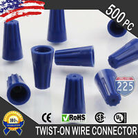 (500) Blue Twist-On Wire Connector Connection nuts 22-14 Gauge Barrel Screw US