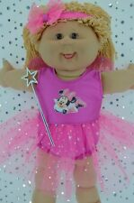 "Play n Wear Doll Clothes For 16"" Cabbage Patch PINK FAIRY~PANTS~HEADBAND~WAND"