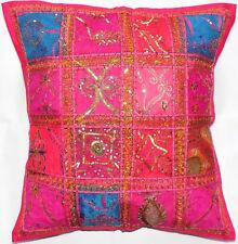 "Zip Decorative Cushion Cover 24x24"" Indian Colourful Sari Patch Moroccan 60x60cm"