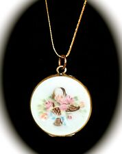 Antique Sterling Silver Gilt Enamel Guilloche Hand Painted LOCKET 14K GOLD Chain