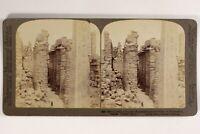 Egitto Karnak Archeologia Tempio Ruines Foto Stereo Vintage Citrato 1904