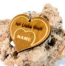 """Schlüsselanhänger """"NAME"""" mit Wunschgravur aus Holz mit HERZ & ich liebe dich"""