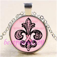 Pink Ribbon Fleur de lis Cabochon Glass Tibet Silver Chain Pendant Necklace#CE89