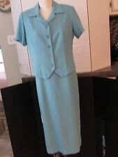 COLDWATER CREEK Comfy 2 Piece Suit Dress w/Top Blue/Green Checked - Size 10