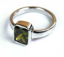 925 Sterling Silver Natural Cambodian Green Zircon Unisex Gemstone Ring