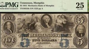 LARGE 1854 $5 DOLLAR MEMPHIS TENNESSEE MECHANICS BANK NOTE OLD PAPER MONEY PMG