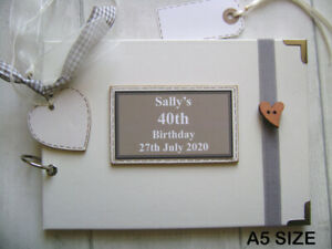 PERSONALISED 40TH birthday PHOTO ALBUM/SCRAPBOOK/MEMORY/GUEST BOOK a5 or a4 size