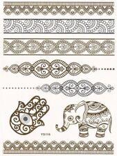 Tatuajes Temporales Henna Indio Elefante Oro Lotus Flor de Loto Gargantilla Ojo de mano