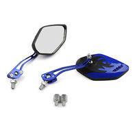 Motorcycle Rearview Mirrors 8mm 10mm For Honda Suzuki Kawasaki  BMW Blue