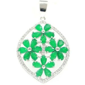 SheCrown Elegant Real Green Emerald White CZ Ladies Wedding Silver Pendant
