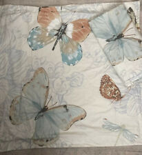 Set Of 2 Pottery Barn Euro Pillow Shams Butterfly Floral Cotton Ivory Cream Euc