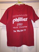 1980 PHILADLEPHIA PHILLIES WORLD SERIES CHAMPIONS RED t-shirt Lrg Single Stitch