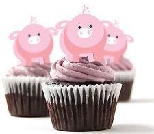 ✿ 24 Edible Rice Paper Cup Cake Topper, decorations - pigs ✿