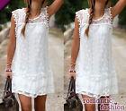 ♥Größe 34-40 Sommerkleid Strandkleid Cocktailkleid in Weiß+NEU+SOFORT+B536♥