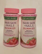 2 Nature's Bounty Hair, Skin & Nails Gummies, (Strawberry) Biotin 2500mcg, 80 ct