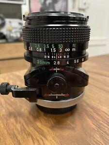 canon fd 35mm f2.8 SSC TS Tilt Shift
