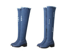 Ladies Stretch Over Knee Boots Block Heel Blue Denim Round Toe Shoes Size UK 1~8