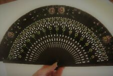 Vtg 2-Sided Pierced Wood & Silk Hand Painted Hand Fan Signed 'Rc Sevilla'