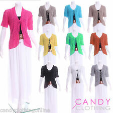 New Womens Knitted Bolero Shrug Cardigan Short Sleeve Pointelle Crop S M XL XXL