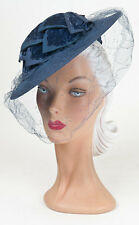 40s 'Allen's' Original Blue Felt Hat with Leaf Design and Full Face Veil