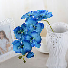 BLUE Color Artificial Butterfly Orchid Silk Flower Wedding Phalaenopsis 1PCS