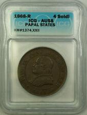 1868-R Papal States Vatican Pope Pius IX 4 Soldi ICG AU-58 KM#1374