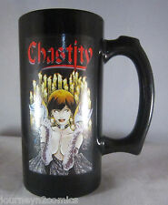 """Chastity Mug 2000 Black with Theatre of Pain #1 Graphics Chaos 5-1/2"""" tall k"""