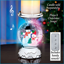 Lighted Musical Snowman Christmas Snow Globe Candle Holder w/ Remote