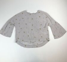 All Saints 100% Silk Bumblebee BEE Cropped Top Blouse See Measurements Lt Gray