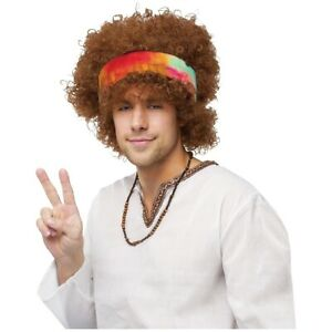 Hippie Wig Adult Mens or Womens 60s 70s Costume Fancy Dress