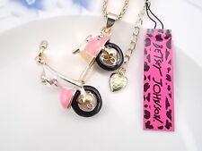 Betsey Johnson fashion jewelry Crystal pink motorcycle pendant necklace # B