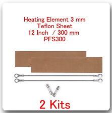 "2 Heating Elements 3 mm +2 PTFI Sheets) For Impulse Sealer 12"" / 300mm PFS300"