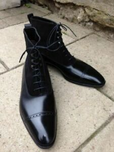 Handmade Men Pure Black Suede & Leather High Ankle Boots- Formal/Causal Shoes