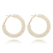 Trendy Charm Beads Crystal Hoop Earring Geometric Round Big Earrings for Women