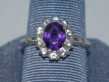 10k White Gold ring with Amethyst(February birthstone) and CZ diamonds