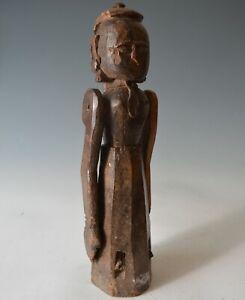 Good Antique indian folk art carved wood Goddess figure