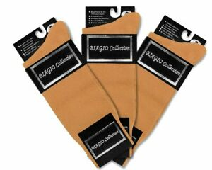 3 Pair of Biagio Solid GOLD Color Mens COTTON Dress SOCKS