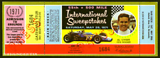 1 1971 INDIANAPOLIS INDY 500 AUTO RACING VINTAGE UNUSED FULL TICKET  laminated