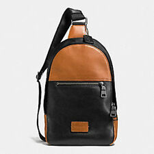NWT Coach Men's Leather Campus Sling Backpack Saddle/Black #72035 $350