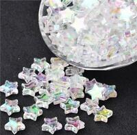 100 ACRYLIC STAR BEADS AB RAINBOW PEARL LUSTRE 10mm TOP QUALITY ACR66