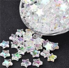 70 ACRYLIC STAR BEADS AB RAINBOW PEARL LUSTRE 10mm TOP QUALITY ACR66