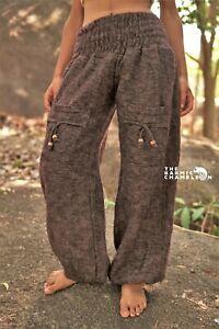 Warm Harem Hippie Pants Brown Winter Yoga Festival Loose Boho Gypsy Comfy Soft