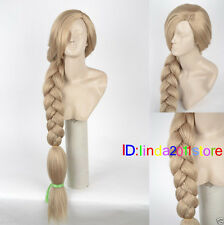 2019 Women Disney Tangled Rapunzel Long Blonde Weaving Braid Cosplay Party Wigs