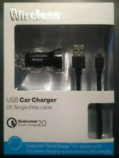 Just Wireless USB Car Charger Micro USB with 5FT Tangle Free Cable USA SELLER