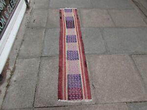Vintage Kilim Traditional Hand Made Oriental Purple Cotton Kilim Runner 167x33