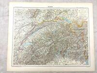 1894 Antik Map Of Switzerland Swiss Alps Alte Original 19th Century Französisch