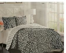 New Paisley Queen 3-Piece Comforter Set Black & White