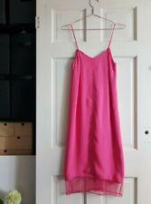 BNWT ASOS pink midi column cami slip dress with mesh sheer hem and v back UK 6