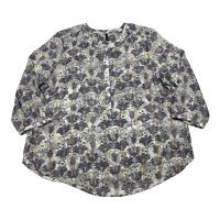 NYDJ Womens Long Sleeve 1/2 Button Front Size XL White & Floral