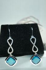 David Yurman 925 Silver BLUE Topaz Infinity Continuance Drop Dangle Earrings